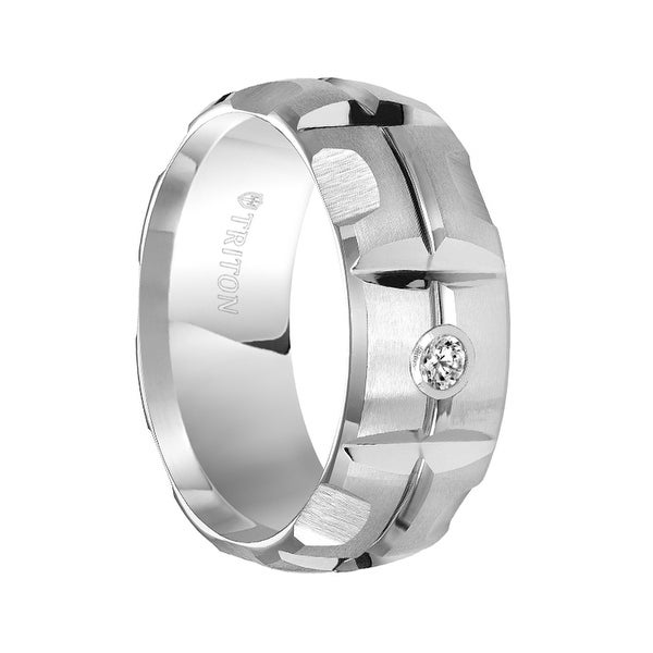 SPENCER Domed White Tungsten Carbide Wedding Band with Matrix Pattern Center and Solitaire Diamond Setting by Triton Rings - 9mm