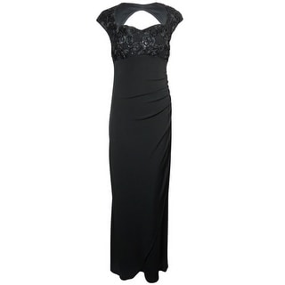 Onyx Nite Women's Soutache Lace Queen Anne Jersey Dress - Black