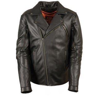 Mens Vented Updated Black Leather Motorcycle Jacket