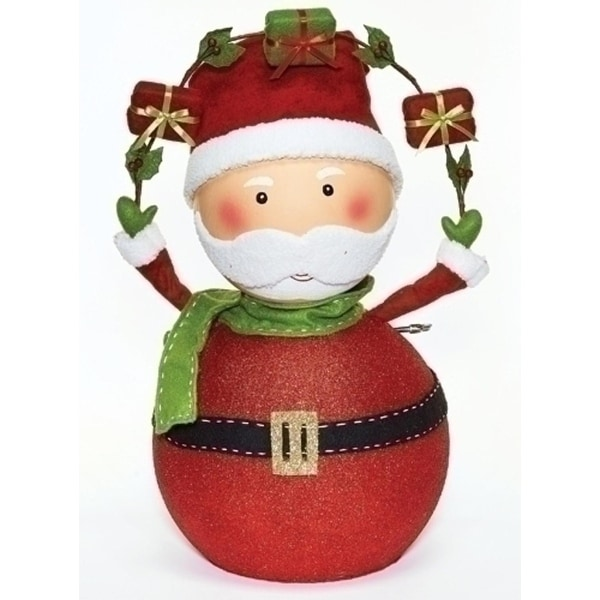 """24"""" Red and Green Musical Santa Claus with Gifts Christmas Tabletop Figure"""