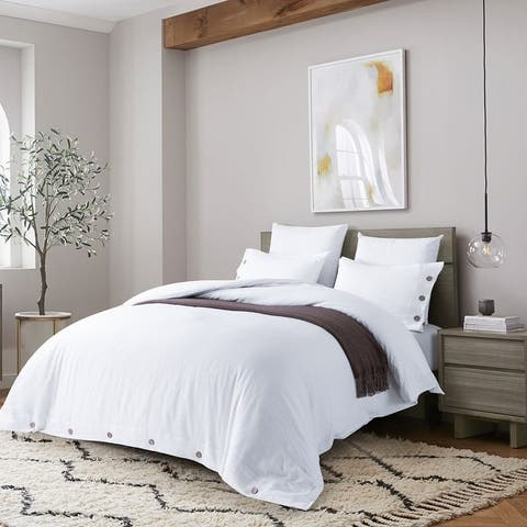 Stone Washed Linen Duvet Cover Set, Coconut Shell Button Closures