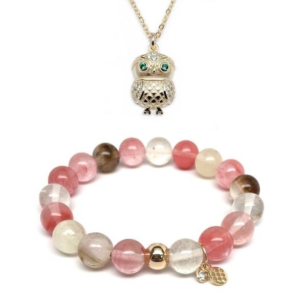 Pink Cherry Quartz Bracelet & CZ Owl Gold Charm Necklace Set