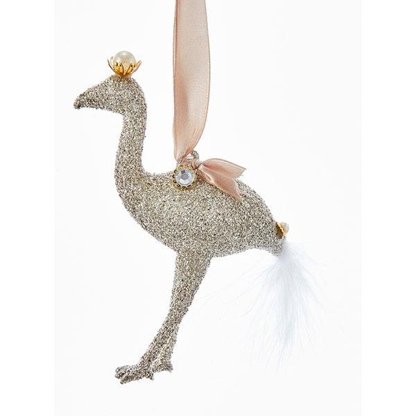 Kurt Adler Vintage Glamour Platinum Glittered Flamingo Holiday Ornament