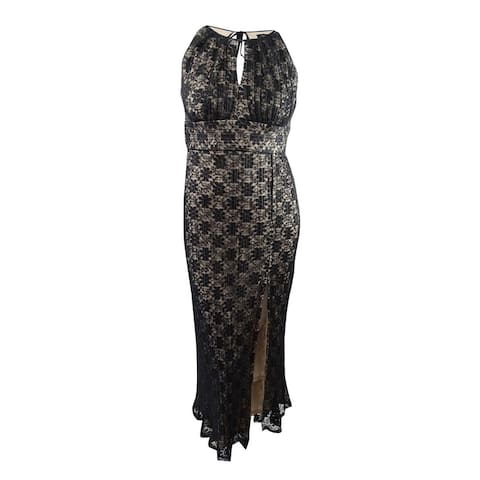 R&M Richards Lace Halter Gown - Black/Taupe