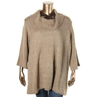 Karen Scott Womens Plus Pullover Sweater Cowl Neck Marled