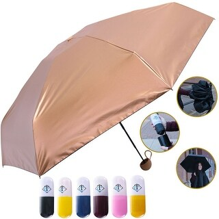 Travella Lightweight Umbrella Weatherproof No Drip Nano Coated UV Protection, Gold