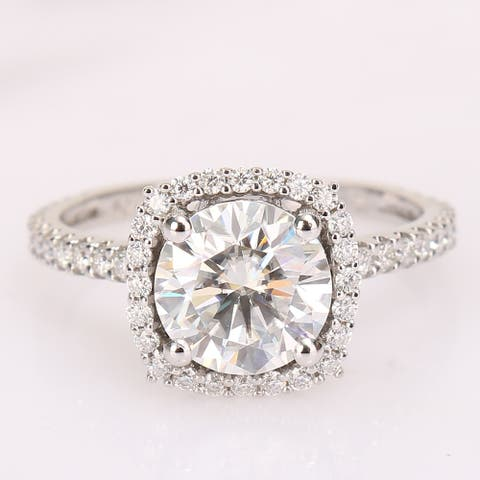 Round 2 1/2ct TGW Moissanite Halo Engagement Ring in 10k White Gold by Miadora