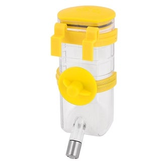 Cage Mounted Pet Dog Cat Drinking Hanging Water Bottle Yellow Clear