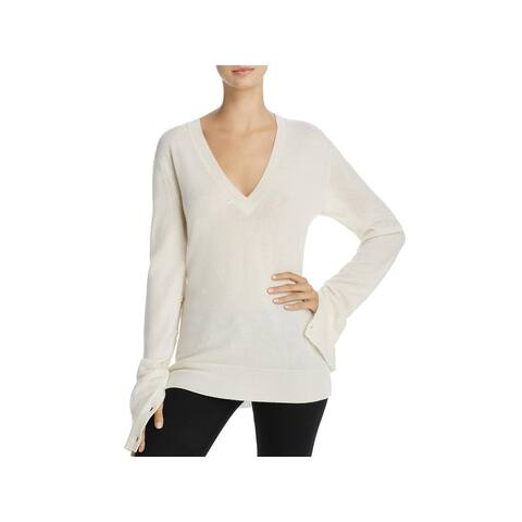 Theory Womens Pullover Sweater Cashmere Ribbed Trim - Ivory - M