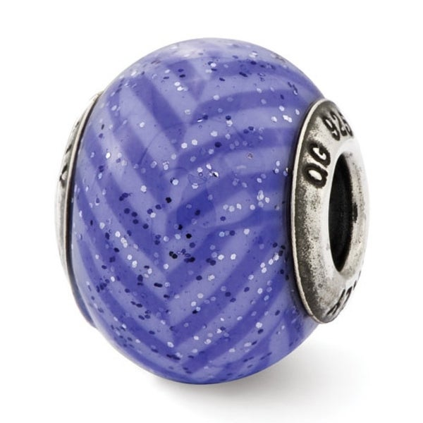 Italian Sterling Silver Reflections Purple Stripes with Glitter Glass Bead (4mm Diameter Hole)