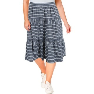 Lauren Ralph Lauren Womens Midi Skirt Seersucker Striped