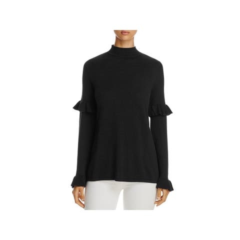 Heather B Womens Pullover Sweater Ruffled Sleeves Mock Neck