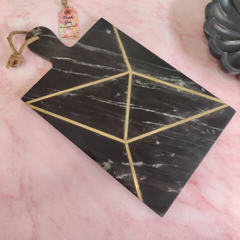 "GAURI KOHLI Badajoz Black Marble Board (18""x10"") - 18.0"" X 10.0"" Inches"