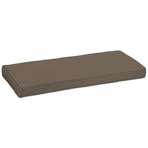 Arden Selections Acrylic Mocha Ticking Stripe Outdoor Bench Cushion - 18.5 in L x 46 in W x 4 in H