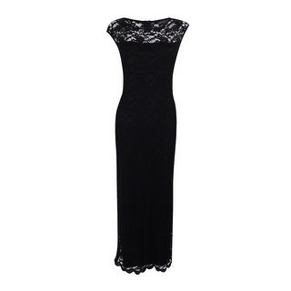 Connected Apparel Women's Cap-Sleeve Lace Illusion Gown - Black