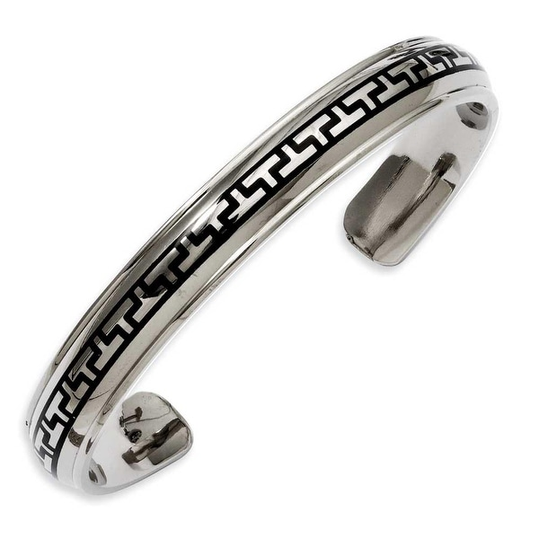 Stainless Steel Black-plated Design Cuff Bangle