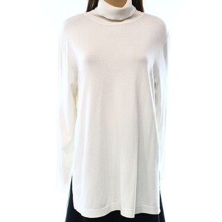 Alfani NEW White Women's Large L High Low Ribbed Turtleneck Sweater