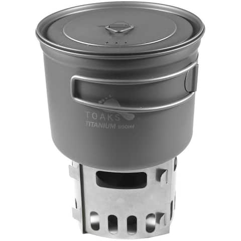 TOAKS Titanium Alcohol Stove and 900ml Pot Cook System CS-04 - Outdoor Camping - One Size