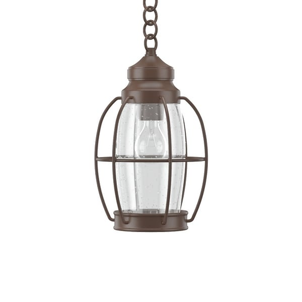 "Park Harbor PHEL2901 West Rock 8"" Wide 1-Light Outdoor Mini Pendant with Lantern Style Cage and Seedy Glass"