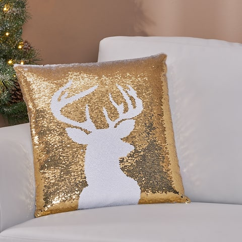 Geary Glam Velvet Christmas Throw Pillow Cover by Christopher Knight Home