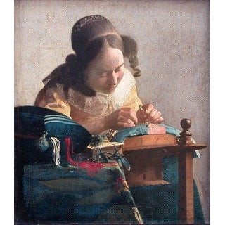 Easy Art Prints Johannes Vermeer's 'The Lacemaker' Premium Canvas Art