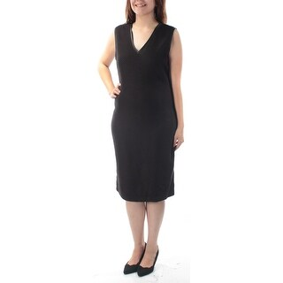 Womens Black Sleeveless Knee Length Body Con Evening Dress Size: 6