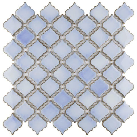 "SomerTile Hudson Tangier Frost Blue 12.38"" x 12.5"" Porcelain Mosaic Tile"