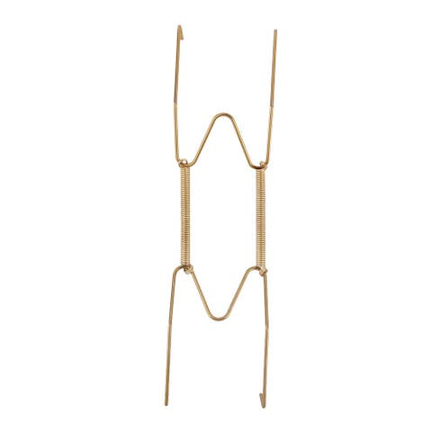 Metal 7.5 to 9 Inch Spring Plate Hangers Wall Rack Hook Stand Display - Gold Tone