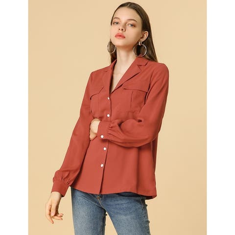 Women's Solid Chest Pocket Button Down Notch Lapel Collar Shirt - Flame Red