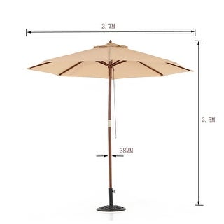 IKAYAA 2.7M Wooden Patio Garden Umbrella Sun Shade Outdoor Cafe Beach Parasol Canopy 8 Ribs 38MM Pole W/ Air Vent 180g Polyester