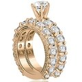 4.15 cttw. 14K Rose Gold Antique Round Cut Diamond Engagement Set - Thumbnail 1