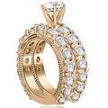 4.40 cttw. 14K Rose Gold Antique Round Cut Diamond Engagement Set - Thumbnail 1