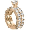 4.40 cttw. 14K Rose Gold Antique Round Cut Diamond Engagement Set - Thumbnail 1