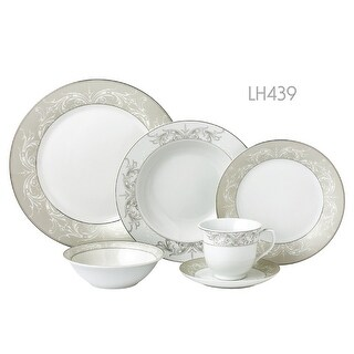 Lorenzo Import LH439 24 Piece Border Porcelain Dinnerware Set & Service for 4 - Olympia - Mix & Match, Silver