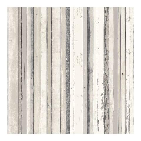 Bodhi Grey Distressed Stripe Wallpaper - 20.5 x 396 x 0.025