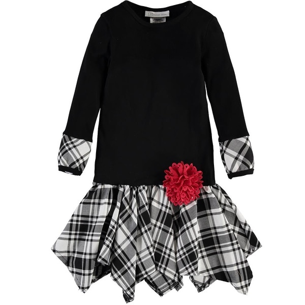 92dd1c2970be Shop Bonnie Jean Girls 4-6X Knit Plaid Hanky Dress - Black/Grey - Free  Shipping On Orders Over $45 - Overstock - 20601016