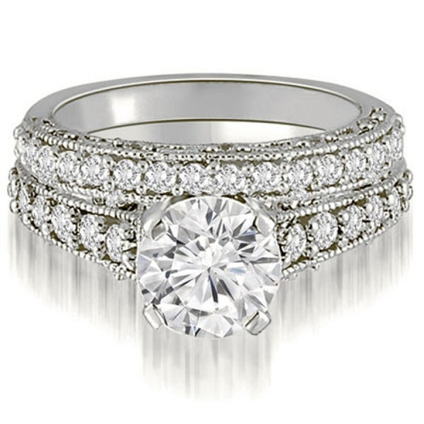 1.35 CT Vintage Antique Milgrain Round Cut Diamond Bridal Set in 14KT - White H-I. Opens flyout.