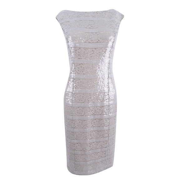 Vince Camuto Women's Sequined Lace-Stripe Dress - Champagne