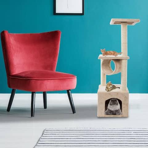 "36"" Beige Plush Sisal Rope Cat Tree Cat Tower - Beige"