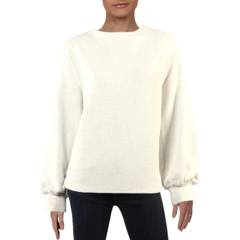 French Connection Womens Sweater Textured Balloon Sleeve - White/Grey