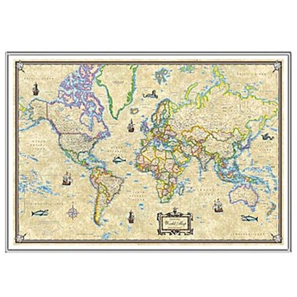 Mounted World Map.Shop Universal Map 16474 Antique World Mounted Silver Framed Map