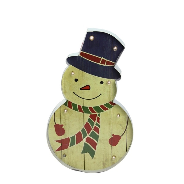"""20"""" LED Lighted Wood-Look Snowman Christmas Marquee Wall Decoration"""