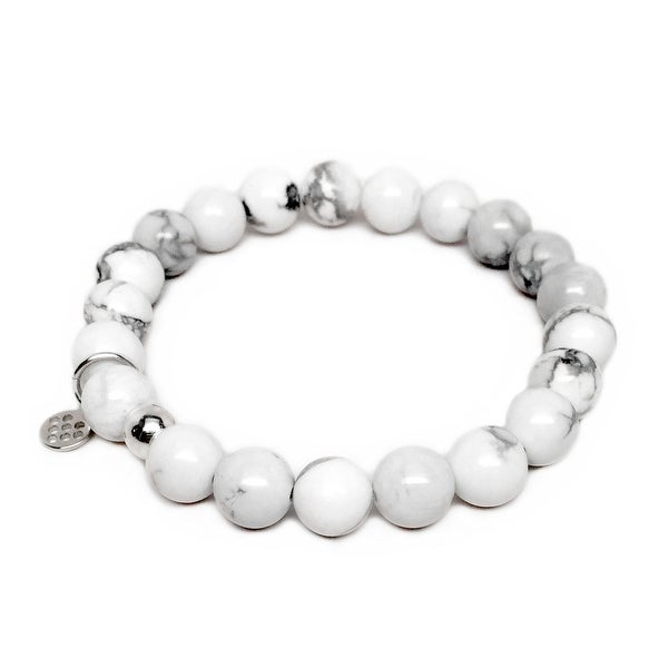 "White Howlite Lucy 7"" Sterling Silver Stretch Bracelet"