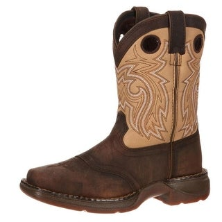 "Durango Western Boots Boys 8"" Saddle Leather Square Toe Brown DBT0118"