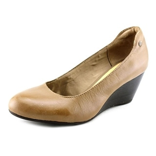 Hush Puppies Bella Setti Women Open Toe Leather Tan Wedge Heel