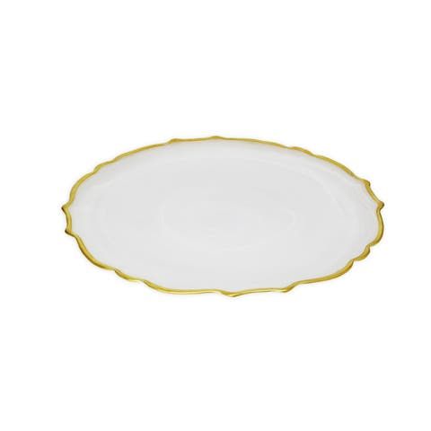 Set of Alabaster White Dinner Plates with Gold Trim