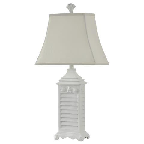 StyleCraft White Of Monterey Table Lamp - White Softback Fabric Shade