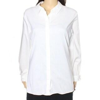 Alfani NEW White Navy Womens Size 14 Print-Back Button Down Blouse