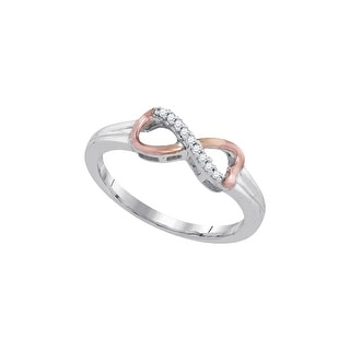 Sterling Silver Womens Round Natural Diamond 2-tone Infinity Fashion Ring 1/20 Cttw - White