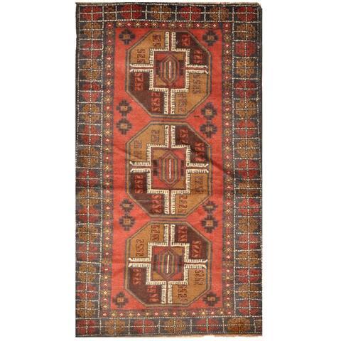 Handmade One-of-a-Kind Tribal Balouchi Wool Rug (Afghanistan) - 2'10 x 5'1